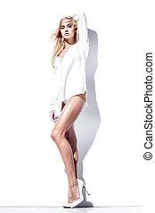 Glamorous woman - Glamorous young woman in white shirt...