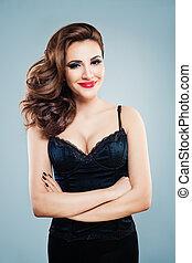 Glamorous Woman in Black ?orset Dress Posing