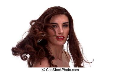 Glamorous woman turning around