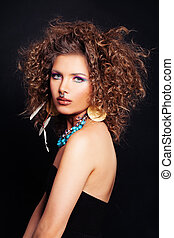 Glamorous Woman wit Curly Hair, Makeup and Accessories in ...