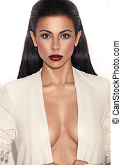 Glamorous Woman With Plunging Neckline
