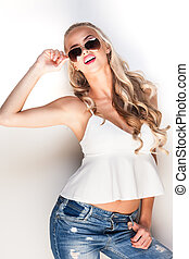 Glamorous young lady - Portrait of a young glamorous lady in...