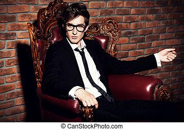 glamorous young man - Glamorous sexy young man in elegant...