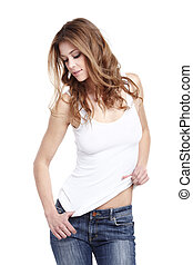 Glamorous young woman in white shirt on white background