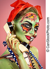 glamorous zombie - Portrait of a pin-up zombie woman over...
