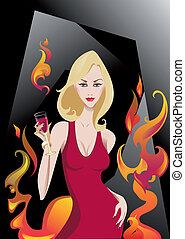 Glamour Blonde - The vector illustration of the Glamour Girl