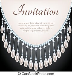 Glamour card with pearls - Glamour invitation card with ...