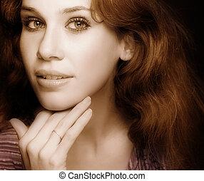 glamour, clássicas, retrato, de, sensual, excitado, mulher