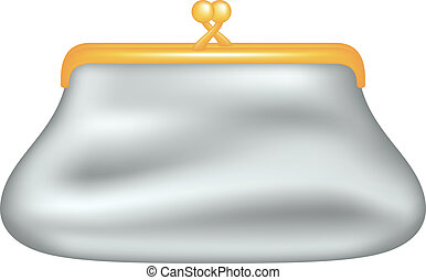 Glamour coin purse isolated on white background