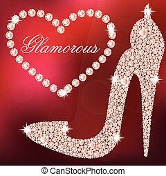 Elegant ladies high heels shoe shape, made with shiny...