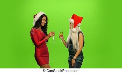 Glamour. Elated Woman Celebrating New Year, green screen