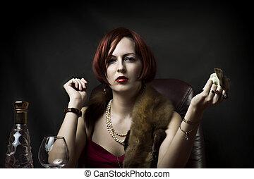 glamour, excitado, mulher, moda, retrato