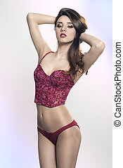 glamour female with red underwear