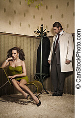 glamour, foto, estilo, par, atraente
