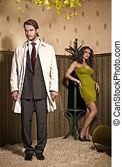 glamour, foto, stil, par, attraktiv