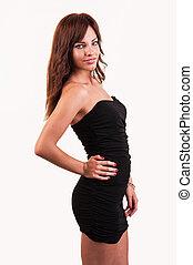 Glamour girl in black dress on white