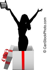 A glamour girl model with top hat in a happy birthday celebration gift box.