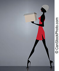 Glamour girl shopping with a box