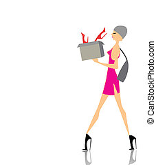 Glamour girl shopping with a box - Glamour girl walking and...