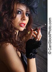 Glamour girl smoking