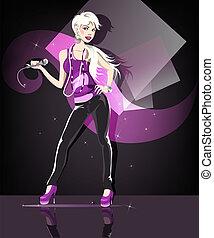 Glamour girl - Beautiful glamour karaoke blond girl.