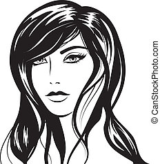 glamour girl with black hairs