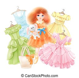 Glamour girl with bunny and set of festive dresses for summer party. Princess style