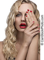 glamour girl with red make-up