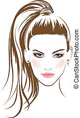 glamour, hår, flicka, lång uppsyn