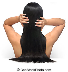 Glamour Hair - Young female model with long, dark, ...