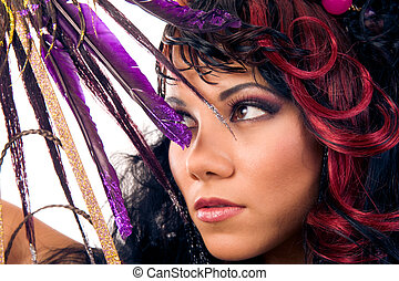 Glamour hairstyle. Close-up portrait of beautiful asian girl