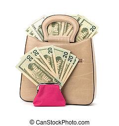 Glamour handbag full with money