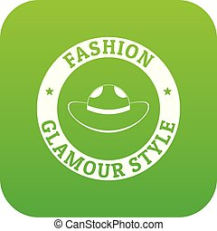 Glamour hat icon green vector isolated on white background