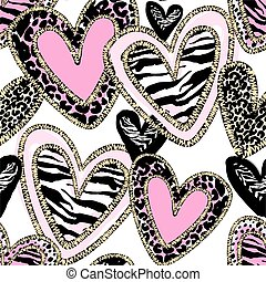 Glamour heart seamless trendy background.Brush leopard...
