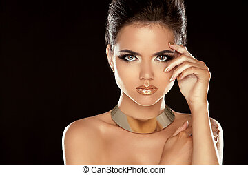 Glamour Lady. Fashion Beauty Girl Isolated on Black Background. Gorgeous Woman Portrait. Stylish Haircut and Makeup. Hairstyle. Make up. Vogue Style.
