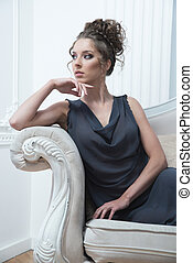 Glamour lady portrait in luxury dress.