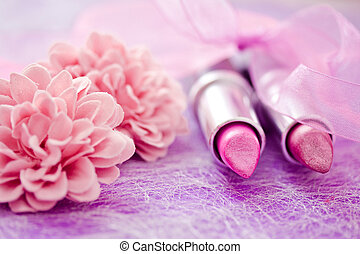 glamour lipsticks and flower petals - lipsticks colors with...