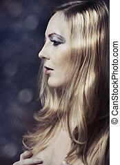 Glamour long blond hair