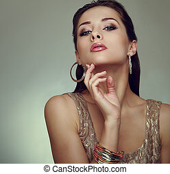 Glamour makeup woman posing. Art closeup vogue portrait.