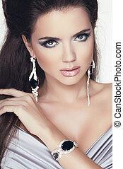 glamour, mulher, jóia, beleza, accessories., morena, portrait., trendy, moda