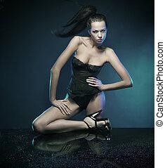 glamour, mulher, sobre, experiência azul