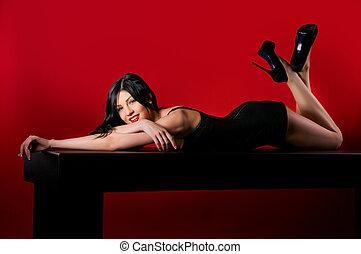 glamour, mulheres, com, longo, cabelo preto, e, excitado, hairstyle.