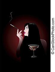 Glamour party girl. Vector illustration on black background