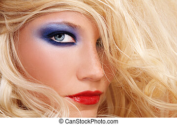 Glamour - Close-up shot of young beautiful woman with long...