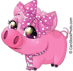 glamorous pig scarf and bow on white background