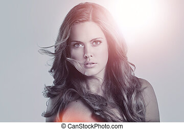 Glamour portrait of beautiful woman model with frash daily makeu