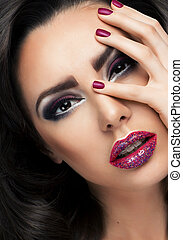 Glamour portrait of beautiful woman model with fresh makeup