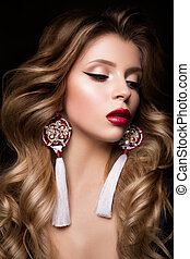 Glamour portrait of beautiful woman model with red lips