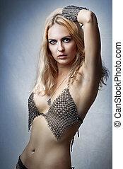 Glamour portrait of beauty fashion woman