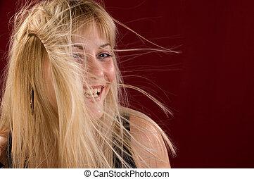 Glamour portrait - Portrait glamour blondie woman, her hair...